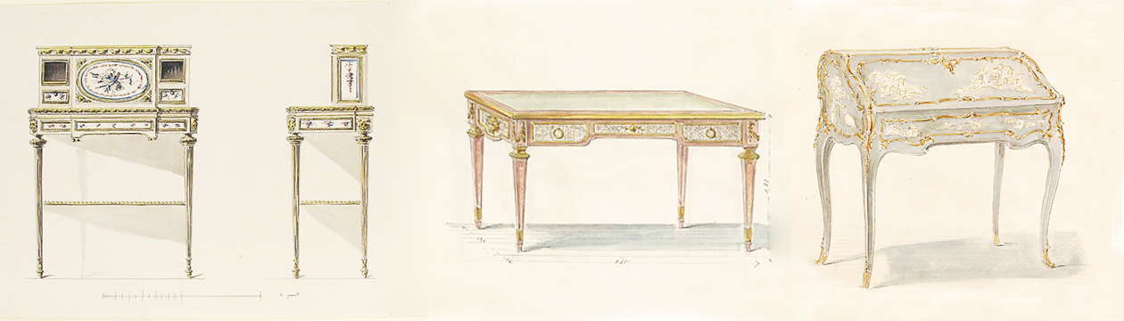 drawings of 18th-century style desks