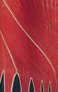 Closeup of stitching on stay