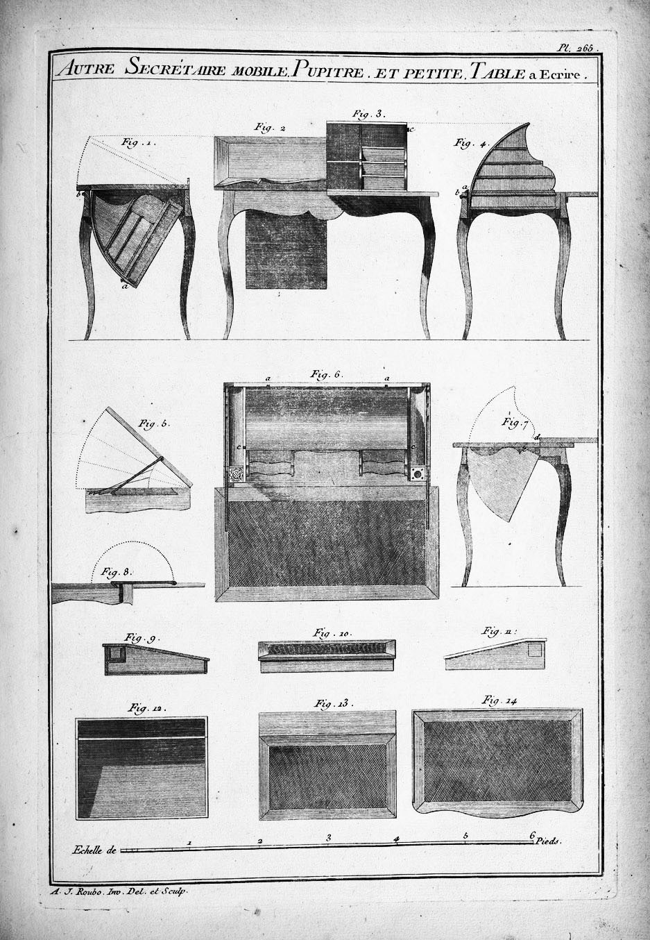 in the secrétaire à culbute, a graduated set of drawers swung a full 180 degrees into position