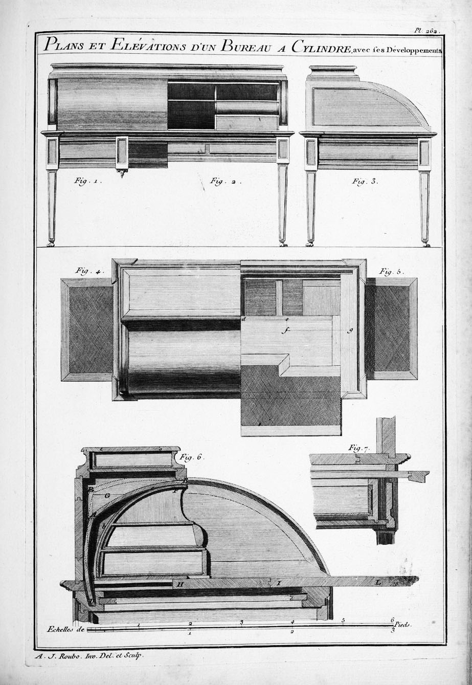 Roll-top desks were engineering marvels with a rolling front drawer protecting the interior