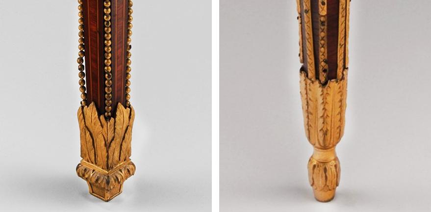 Gilded feet of Tessé Room desk (left) and 1781 desk (right)