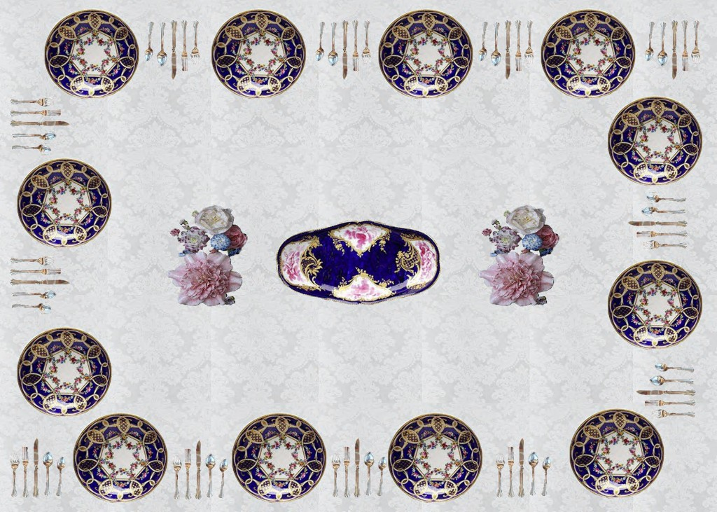 This image is meant to act as a visual guide for viewers to see a set of Sèvres plates together in a dinning setting that is historically accurate in regards to eighteenth-century customs. This table setting displays twelve bleu de roi plates atop a white damask table cloth in partnership with silver eighteenth-century cutlery, with a centerpiece of two Vincennes porcelain flower arrangements flanking a blue de roi Sèvres serving platter.