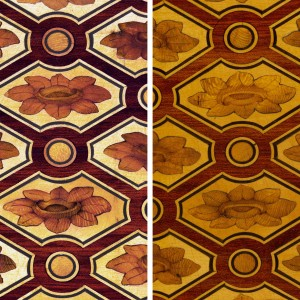 Faded (right) and digitally-restored (left) Riesener marquetry
