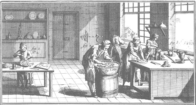 Silversmiths at work, as depicted in the Encyclopédie