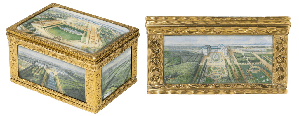 On the backside of this snuffbox, the hinge is practically hidden from view, seamlessly blending in with the design of the box.