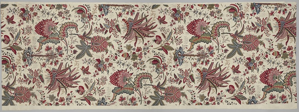 Cotton floral print, French imitating Indian style, 1787