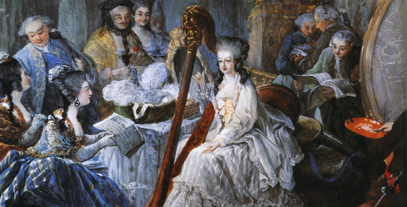portrait of Queen Marie Antoinette performing with a harp